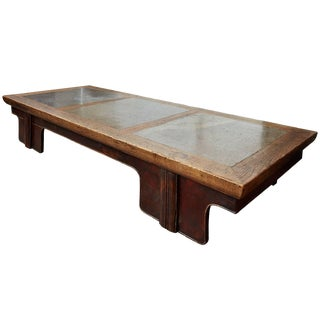 18th Century Chinese Puddle Stone Low Calligraphy Table For Sale