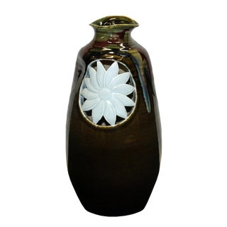 Artistic Modern Handmade Odd Shape Multi Brown Gloss Grace Vase With Sun Flower Graphic For Sale