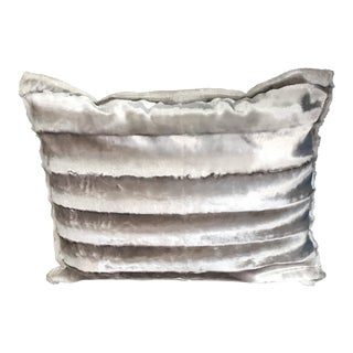Shiny Silver Faux Mink Rectangular Pillow With Down Filling