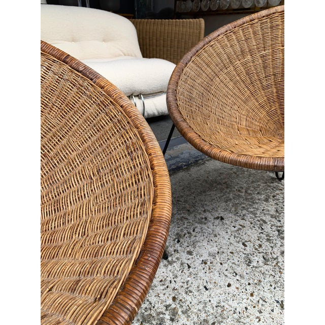 Brown 1950s Rattan Basket Armchairs - a Pair For Sale - Image 8 of 13