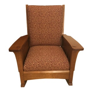 1900s Mission Style Stickley Tan Upholstered Rocking Chair For Sale