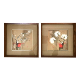 Vintage Oriental Still Life Paintings by Zada Lura Pierce Folz - a Pair For Sale
