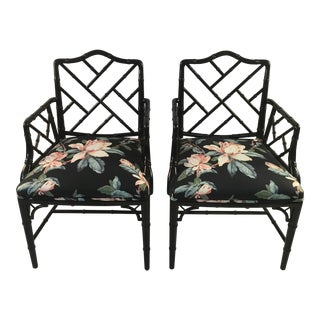 1980s Chinese Chippendale Black Lacquer Arm Chairs - a Pair