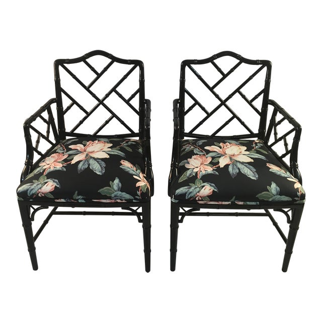 1980s Chinese Chippendale Black Lacquer Arm Chairs - a Pair For Sale