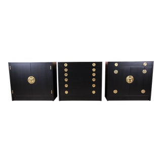 Edward Wormley for Dunbar Janus Collection Ebonized Cabinets, Set of Three For Sale