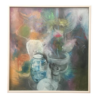 Abstract Still Life Pastel Large Framed Work 1980's For Sale