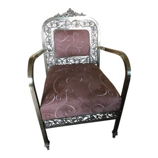 1920s Antique Brass Upholstered Chair For Sale