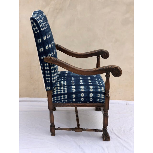 19th Century French Oak Carved Armchair W/ Mali Indigo Textile For Sale - Image 4 of 13