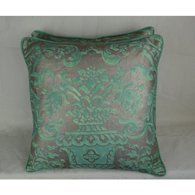 2010s Peacock & Silvery Gold Fortuny Pillows, Pair For Sale - Image 5 of 5