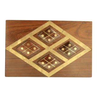 Modernist Exotic Hardwood Box with Harlequin Brass Inlay For Sale