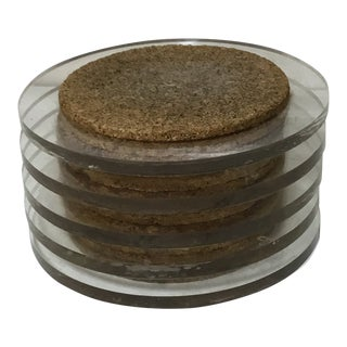 Set of 5 Square Clear Lucite and Cork Coasters For Sale