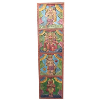 Vintage Hindu God Hanuman Wall Panel/Wooden Temple Sculpture Wall Art For Sale