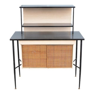1950s Mid Century Modern Cabinet Credenza and Hutch With Rattan Doors For Sale