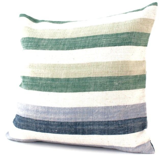 Blue & Green Striped Cotton Pillows - A Pair - Image 2 of 6
