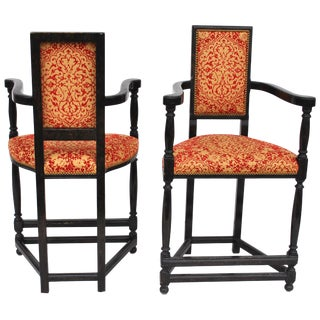 Pair of Louis XIII Style Ebonized Stools by Dennis and Leen For Sale