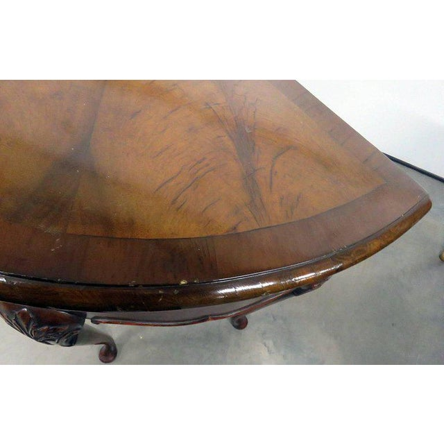 Queen Anne Burl Walnut Demilune Console Table For Sale - Image 9 of 10
