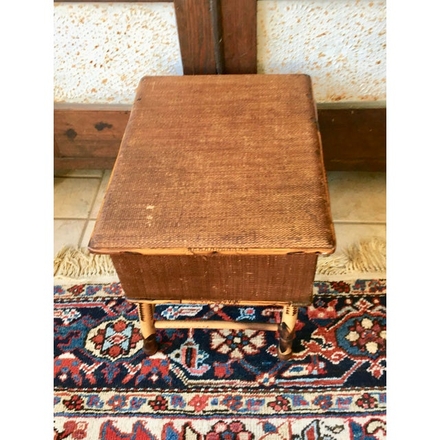 Early 20th Century Antique Bamboo and Wicker Stool For Sale - Image 5 of 8