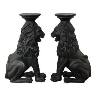 Vintage Plaster Lion Pedestals - A Pair
