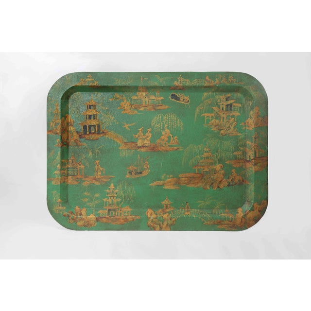 Vintage Chinoiserie Green Tray With Hand Painted Scenery in Gold Paint For Sale - Image 12 of 12
