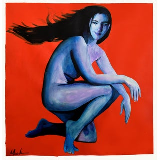 """Blue Woman"" Geoff Greene Painting For Sale"