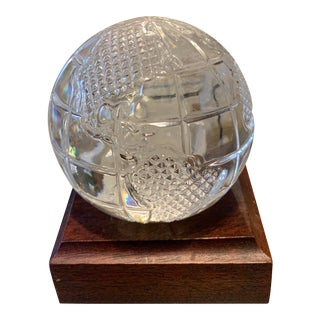 Vintage Waterford Globe Paperweight With Stand For Sale