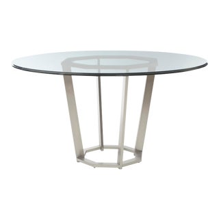Century Furniture Paragon Club Fair Park Metal Base Dining Table with Glass Top For Sale