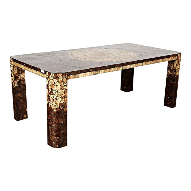 Art Deco Modern Inlaid Dining Table For Sale
