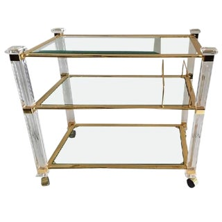 CHARLES HOLLIS JONES THREE-TIER TEA CART IN LUCITE AND BRASS For Sale