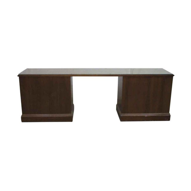 Brown 1980s Walnut Executive Desk For Sale - Image 8 of 9