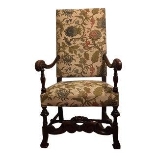 20th C. Hand Carved Baroque Black Walnut Arm Chair
