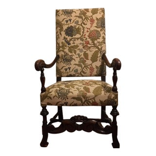 20th C. Hand Carved Baroque Black Walnut Arm Chair With Slip Cover For Sale