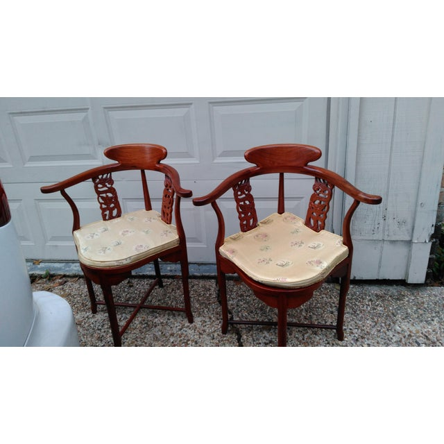 Asian Chinese Solid Rosewood Corner Chairs - A Pair For Sale - Image 3 of 11