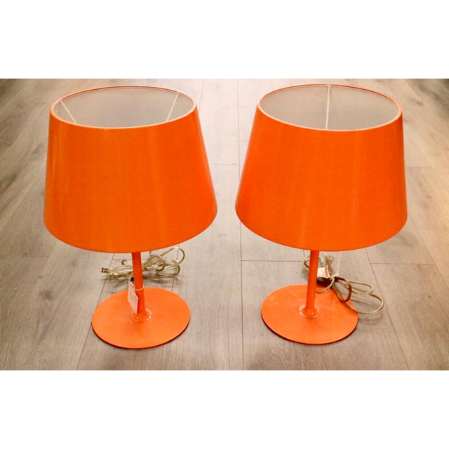 Vintage Orange Lamps - A Pair - Image 5 of 5