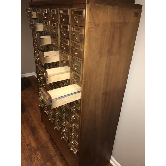 Vintage Hand Crafted 72-Drawer Card Catalog - Image 3 of 5