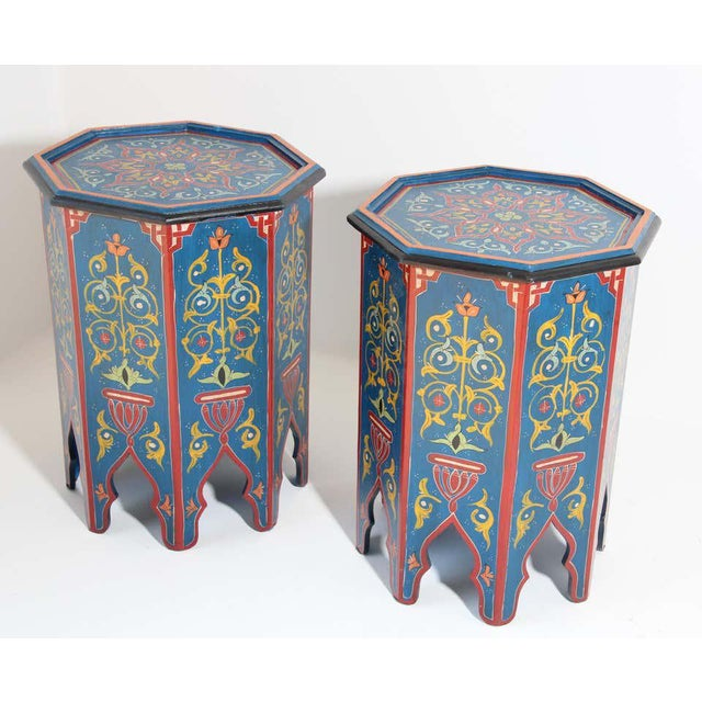 Blue Hand Painted Blue Moroccan Pedestal Tables - a Pair For Sale - Image 8 of 13
