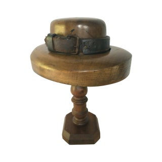 1940's Walnut & Leather Hat Mold For Sale