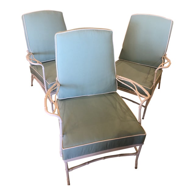 Vintage Sunbrella Faux Bamboo Powder-Coated Metal Lounge Patio Chairs - Set of 3 For Sale