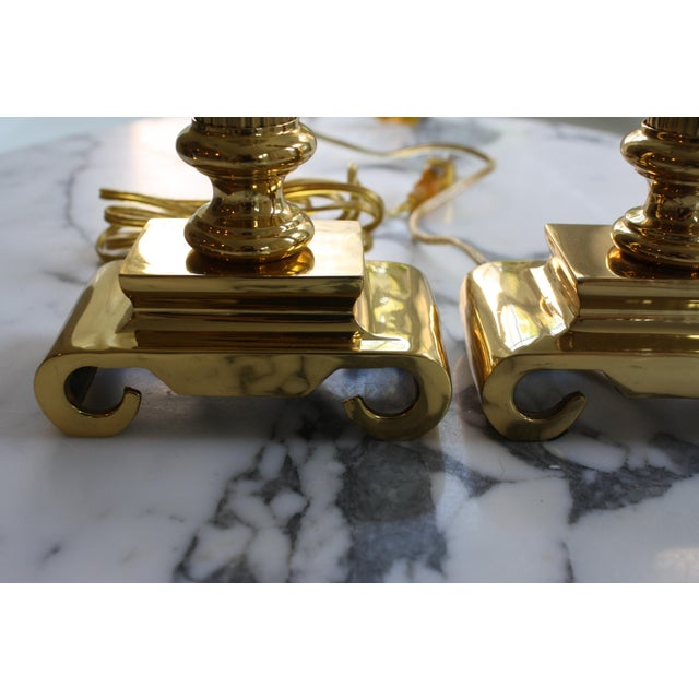 Neoclassical Brass Columnar Candlestick Table Lamps- A Pair - Image 5 of 11