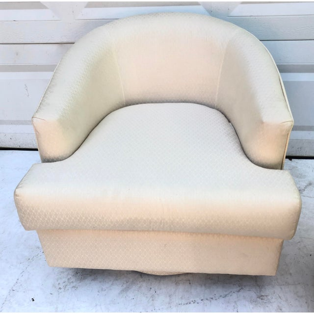 White Modern Swivel Club Chair With Matching Pouf Ottoman For Sale - Image 8 of 10