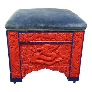 Red Lacquered Asian Bench/Ottoman For Sale