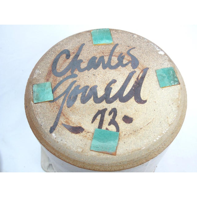1970s 1970s Rustic Charles Gorrell Nw Coast Studio Pottery Lidded Cylinder Jar For Sale - Image 5 of 6