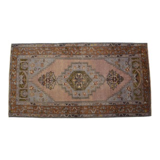 Faded Muted Colors Impressive Medallion Vintage Ushak Rug Low Pile Distressed Area Rug - 4'1'' X 7'8'' For Sale