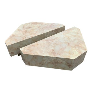 Faux Marble Laminate Split Coffee Table For Sale