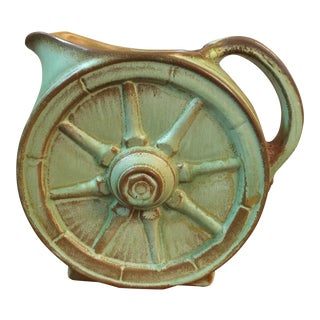 Green and Brown Frankoma Wagon Wheel Pitcher For Sale