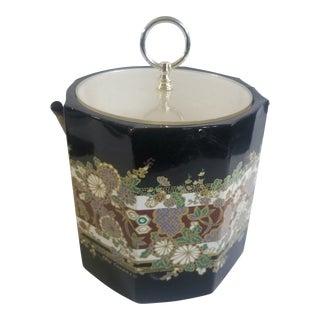 Ice Bucket Oleg Cassini for Shelton Ware Black Heavily Decorated Gold Mid Century Mod Barware For Sale