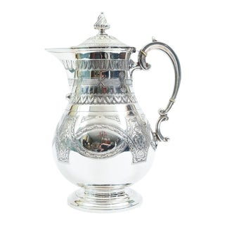 English Silver Plate Ornate Detailed Tea / Coffee Pot For Sale