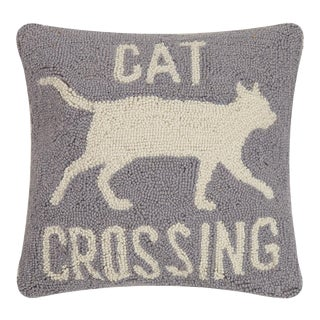 """Cat Crossing Hook Pillow, 16"""" x 16"""" For Sale"""