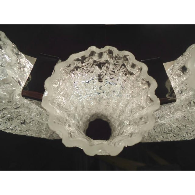 Mid-Century Modern Round Chandelier With Crackle Glass For Sale - Image 3 of 8