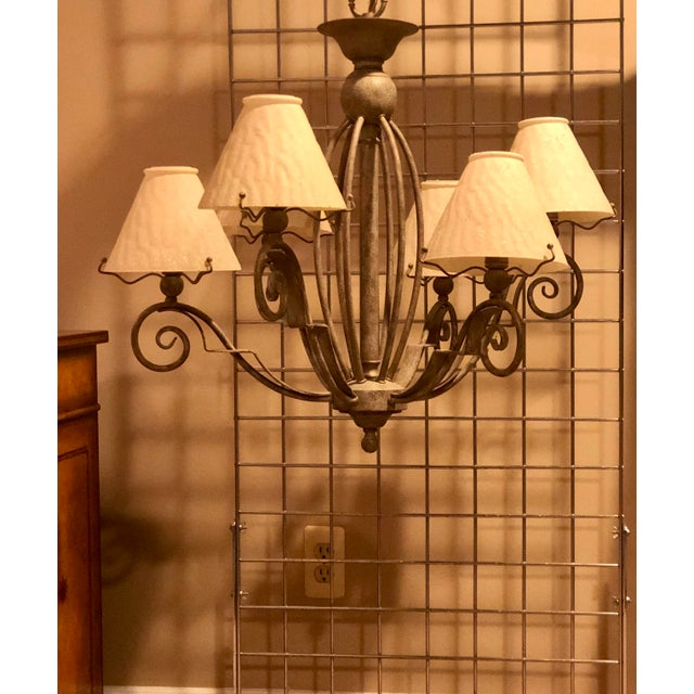 Late 20th Century Vintage Transitional Patinated 6 Arm Chandelier With Shades For Sale - Image 5 of 6