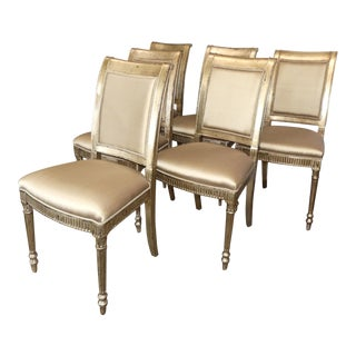 Theodore Alexander Silver Gilt Regency Dining Chairs- Set of 6 For Sale